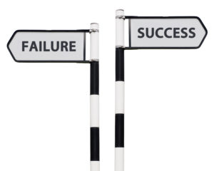 conceptual picture with success and failure road signs isolated on white background