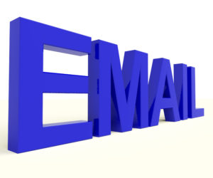 Email Word In Blue For Emailing Or Contact